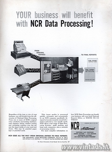 YOUR business will benefit with NCR Data Processin