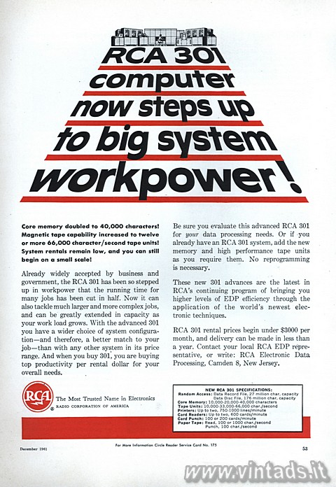 RCA 301 computer now steps up to big system workpower!