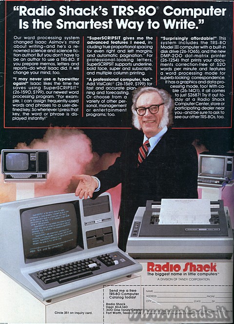 """Radio Shack's TRS-80 Computer Is the Smartest Way"