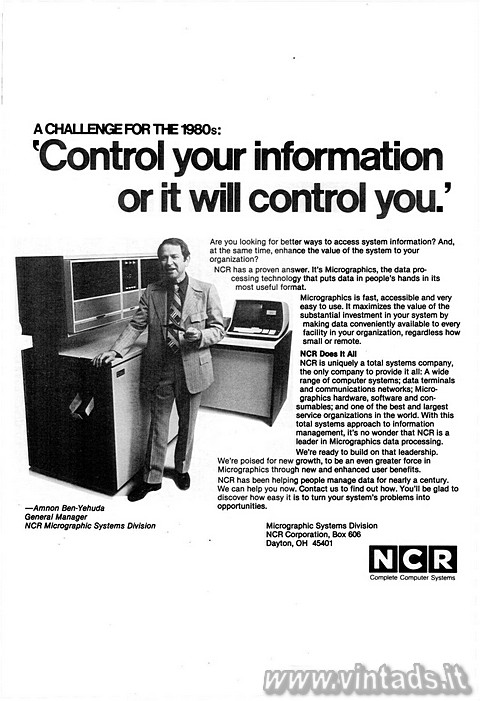 A CHALLENGE FOR THE 1980s: 'Control your infor
