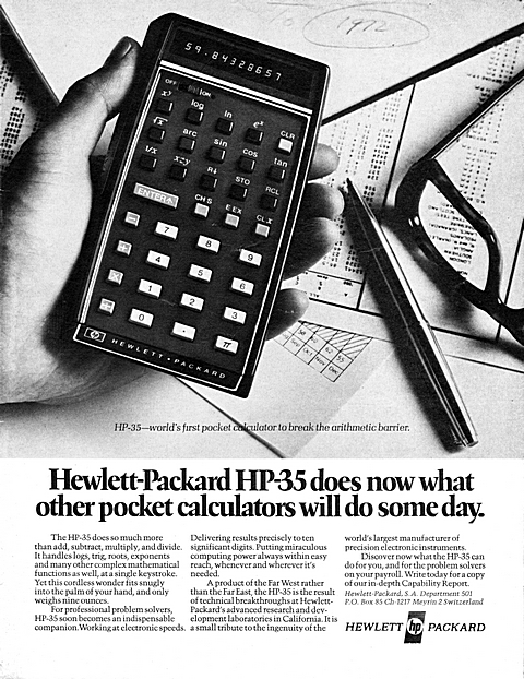 HP-35, world's first pocket calculator to brea