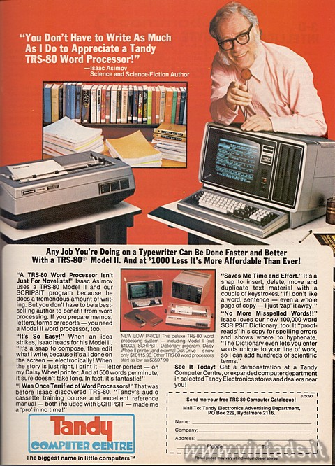 """You Don't Have to Write As Much As I Do to Appreciate a Tandy TRS-80 Wo"