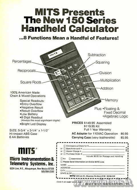 MITS Presents The New 150 Series Handheld Calculat