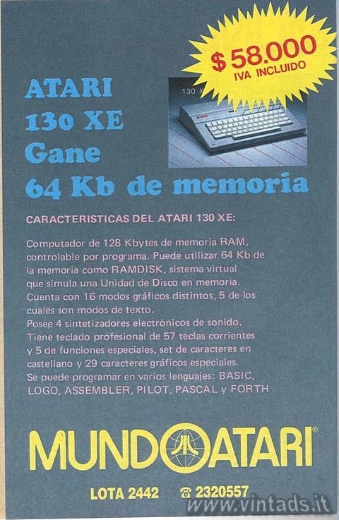Atari 130 XE Gane 64 Kb de memoria