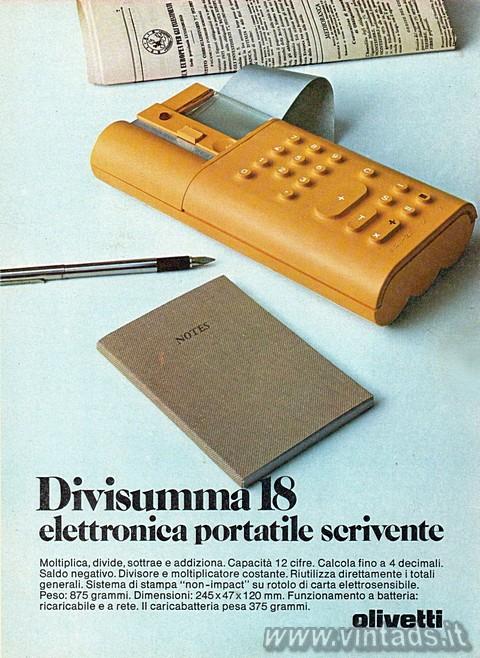 Divisumma 18, elettronica, portatile, scrivente