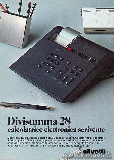 Divisumma 28, calcolatrice, elettronica, scrivente