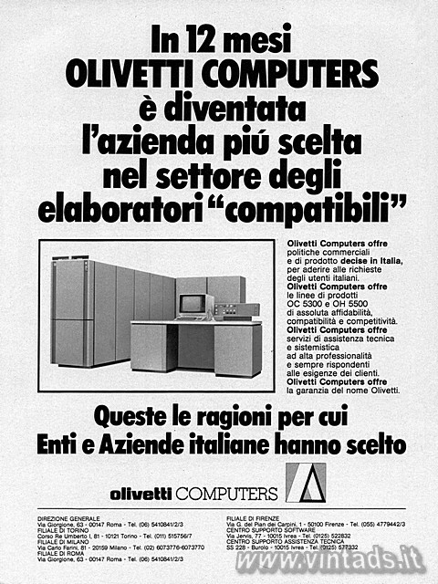 In 12 mesi OLIVETTI COMPUTERS è diventata l'az