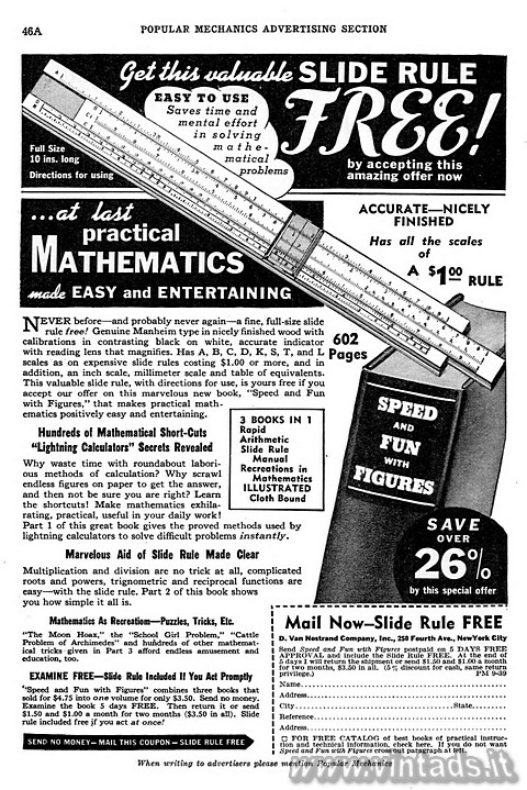 Get this valuable SLIDE RULE free
