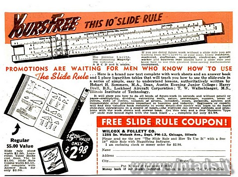 Yours free this 10 slide rule