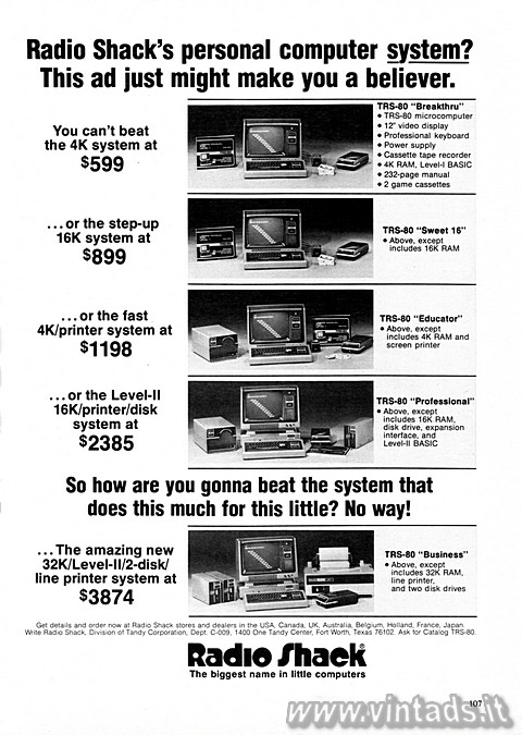 Radio Shack's personal computer system?
