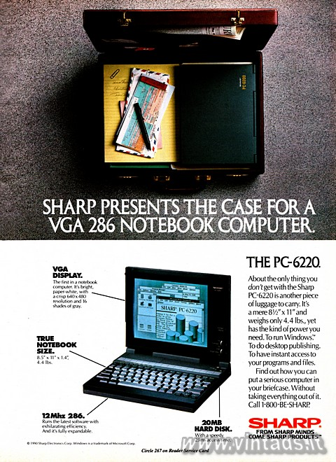 SHARP PRESENTS THE CASE FOR A VGA 286 NOTEBOOK COM
