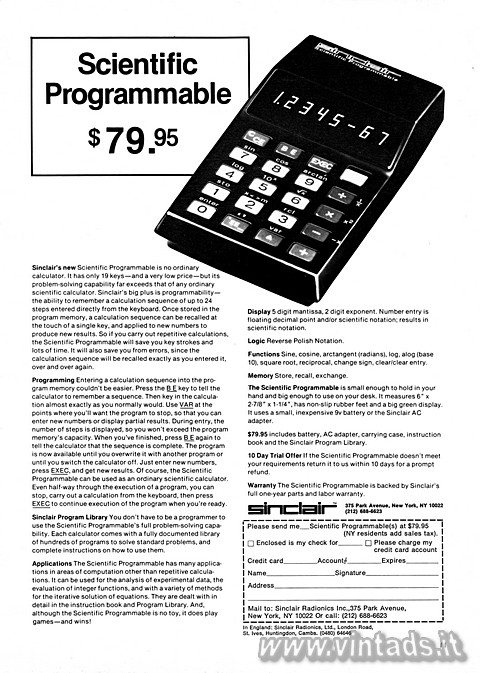 Sinclair Scientific Programmable $ 79.95