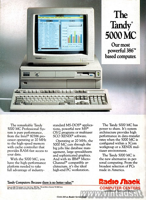 The remarkable Tandy 5000 MC Professional System is pure performance, from the I