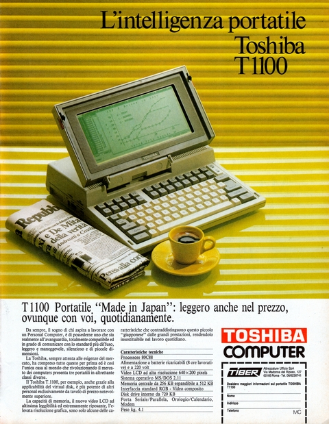 L'intelligenza portatile, Toshiba T1100