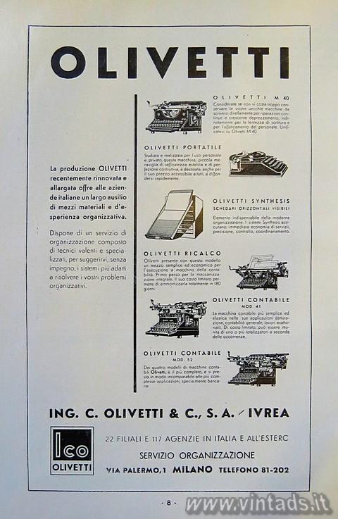 La produzione Olivetti del 1934