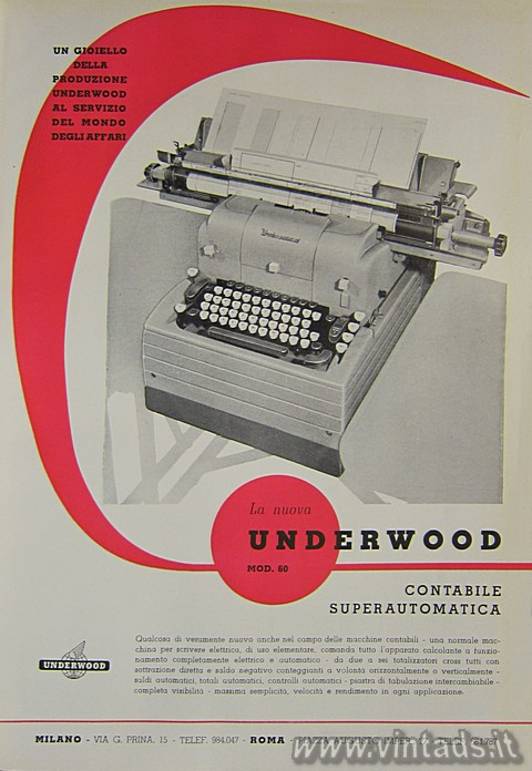 La nuova Underwood modello 60