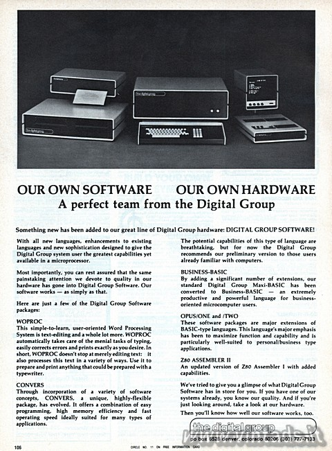 OUR OWN SOFTWARE – OUR OWN HARDWARE – A perfect team from the Digital Group