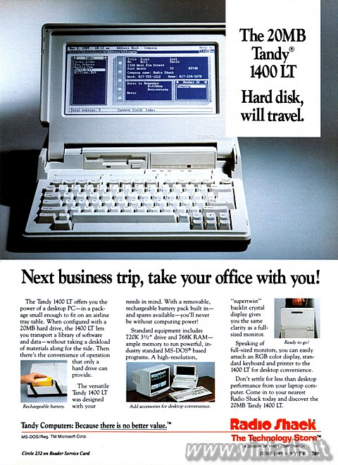 The 20MB Tandy® 1400 LT